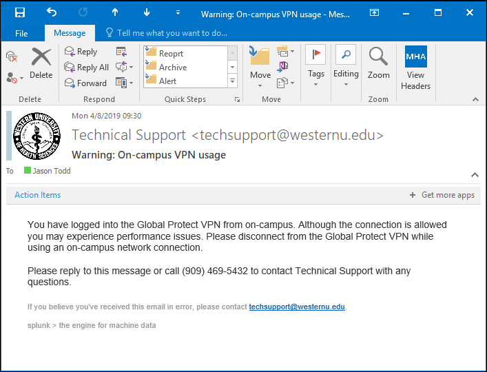 Screen shot of the on-campus VPN warning email. The subject reads: Warning on-campus VPN usage.